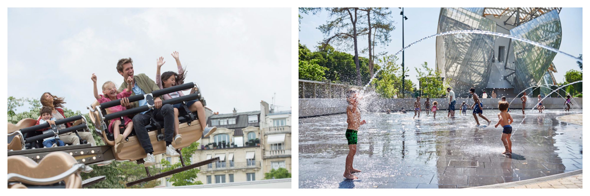 A father and his two kids having fun in kid-friendly Paris on a fair ground ride (left) and children in their bathing suits playing in the fountains outside the Louis Vuitton Foundation in the summer sun (right).