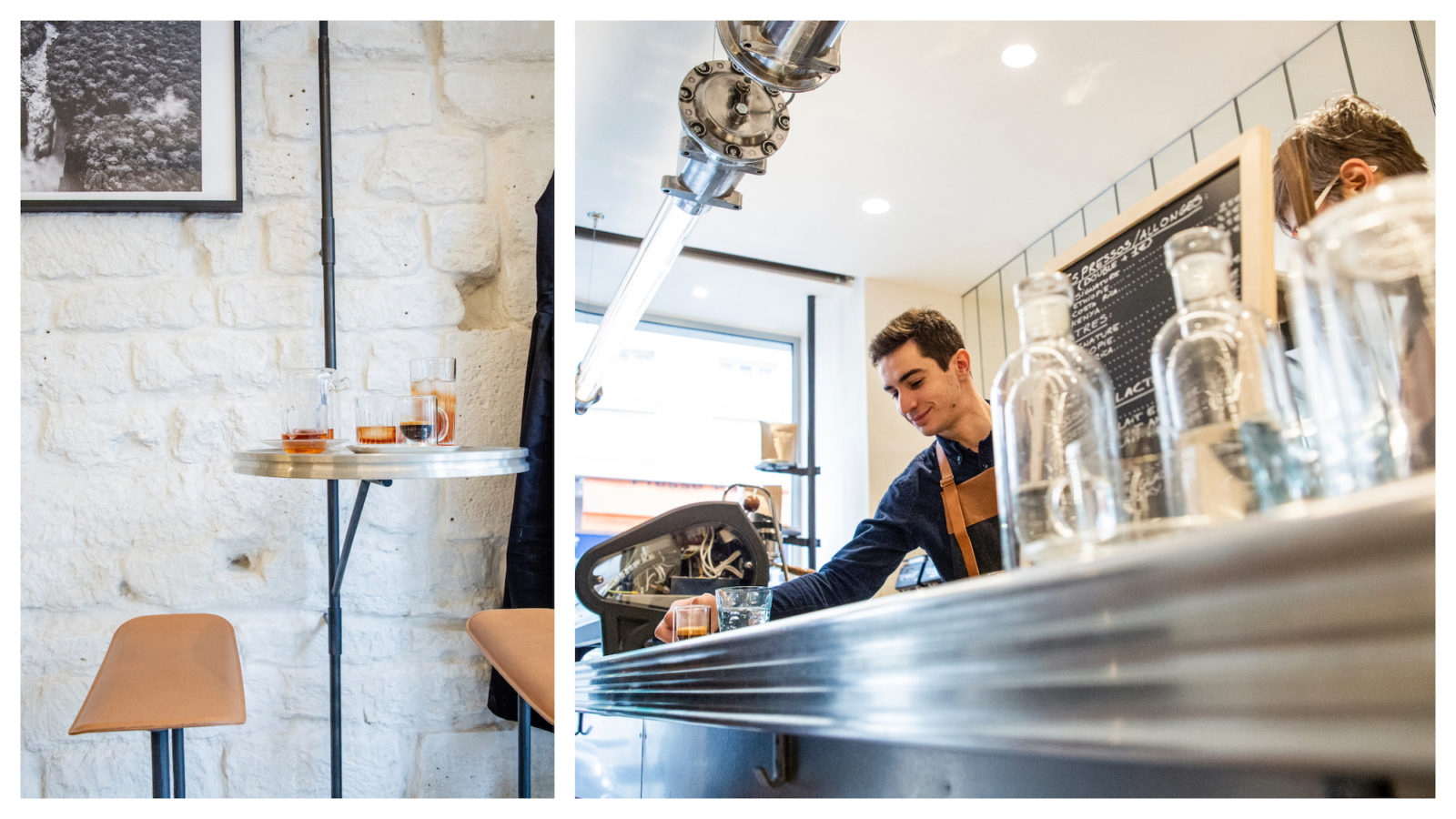 Alain Ducasse's Le Café is our go-to coffee shop on rue du Cherche-Midi with stylish interiors (left) and craft coffee you can enjoy at the counter (right).
