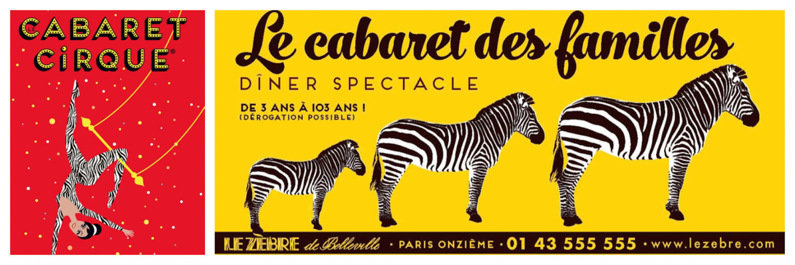 Posters for kid-friendly cabarets in Paris like the Cabaret du Cirque (right) and the Cabaret des Familles (left), perfect for a rainy day with kids in Paris.