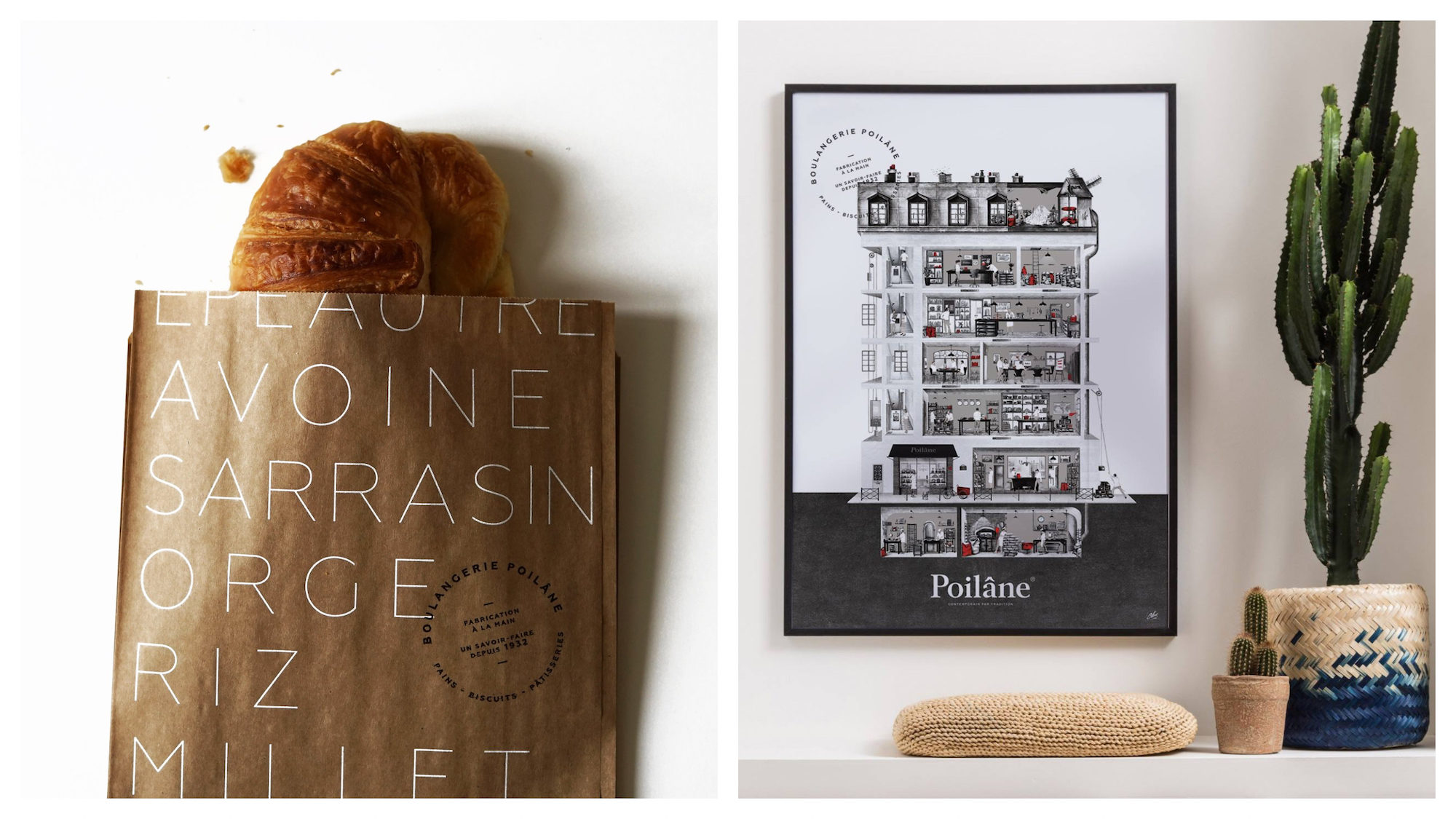 A buttery croissant from Poilane bakery on rue du Cherche-Midi in Paris (left). Artwork on the wall at Poilane bakery on rue du Cherche-midi in Paris.