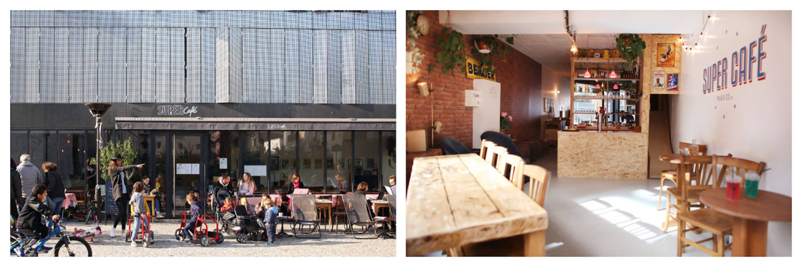 Brunch in Paris at Super Café which comes with a tricycle-friendly outdoor area (left) and plenty space to play inside (right).