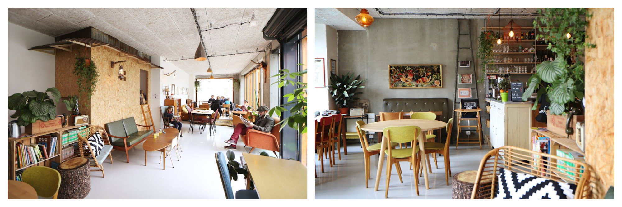 Inside Paris kid-friendly coffee shop, Super Café in the 20th arrondissement (left) and its Scandinavian-inspired decor (right).
