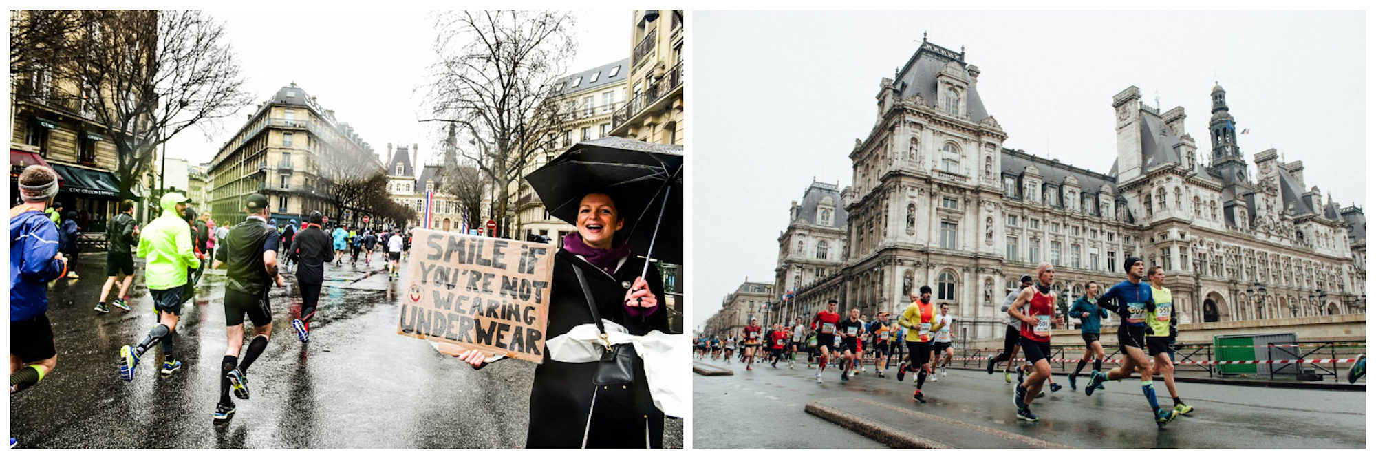 The half-marathon takes place in Paris every March, and people come to support the runners (left). Marathon runners pass the Paris Town Hall in the rain (right).