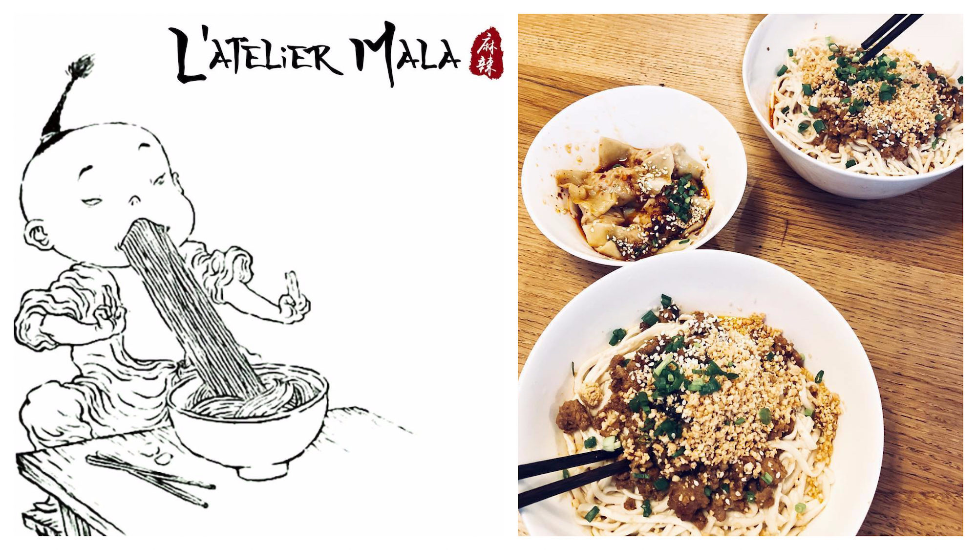 Go to L'Atelier Mala restaurant for the best authentic Chinese food in Paris, like tasty noodles, as in the restaurant's poster of a little cartoon Chinese boy hoovering up noodles (left) and tangy raviolis (right).