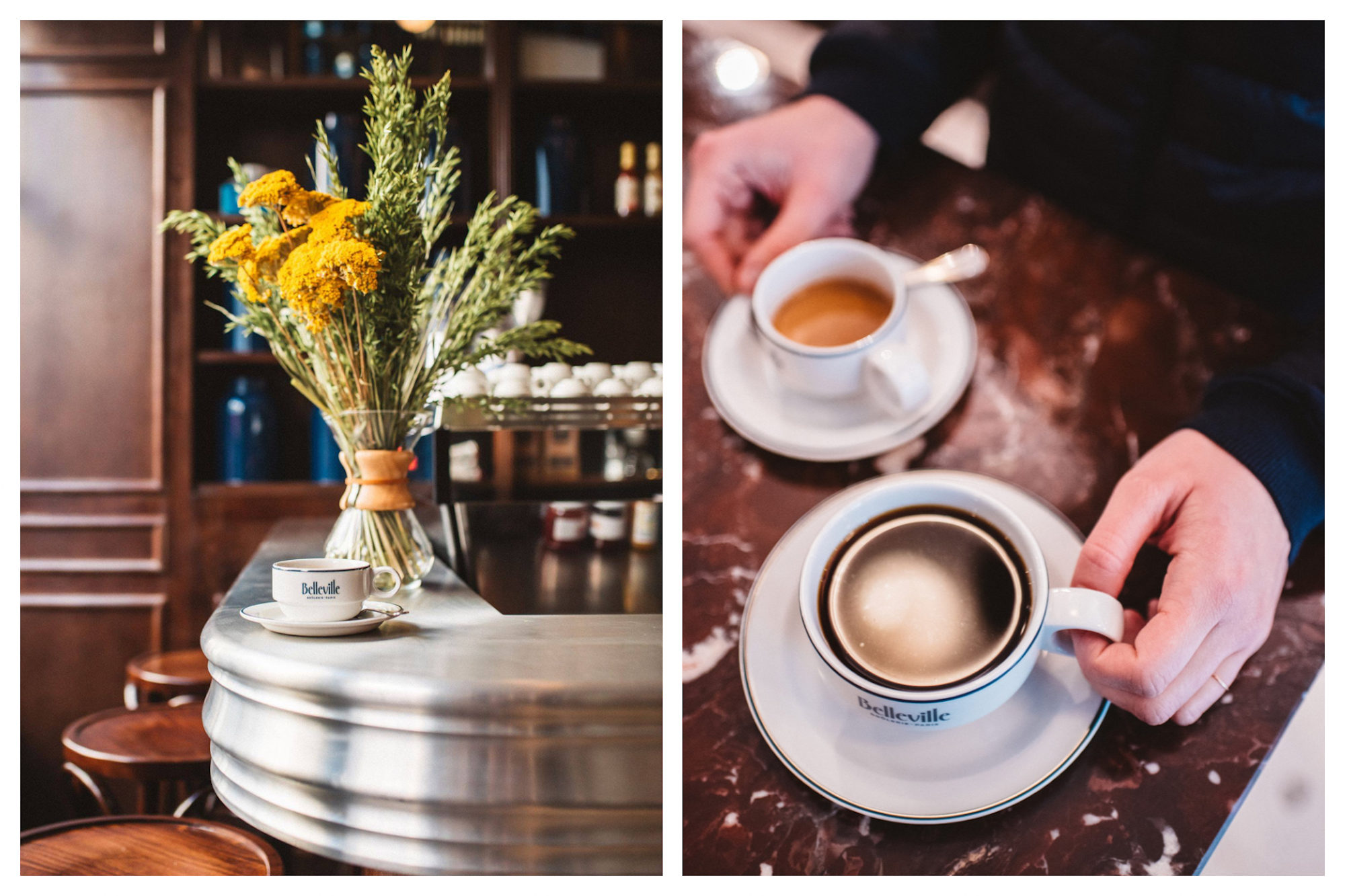 A cup of coffee on the counter of the Belleville Brûlerie coffee roasters in Paris set by a bunch of yellow dried mimosa in a vase (left). Two cups of coffee at the Belleville Brûlerie gluten-free coffee shop in Paris, set on a brown marble counter (right).
