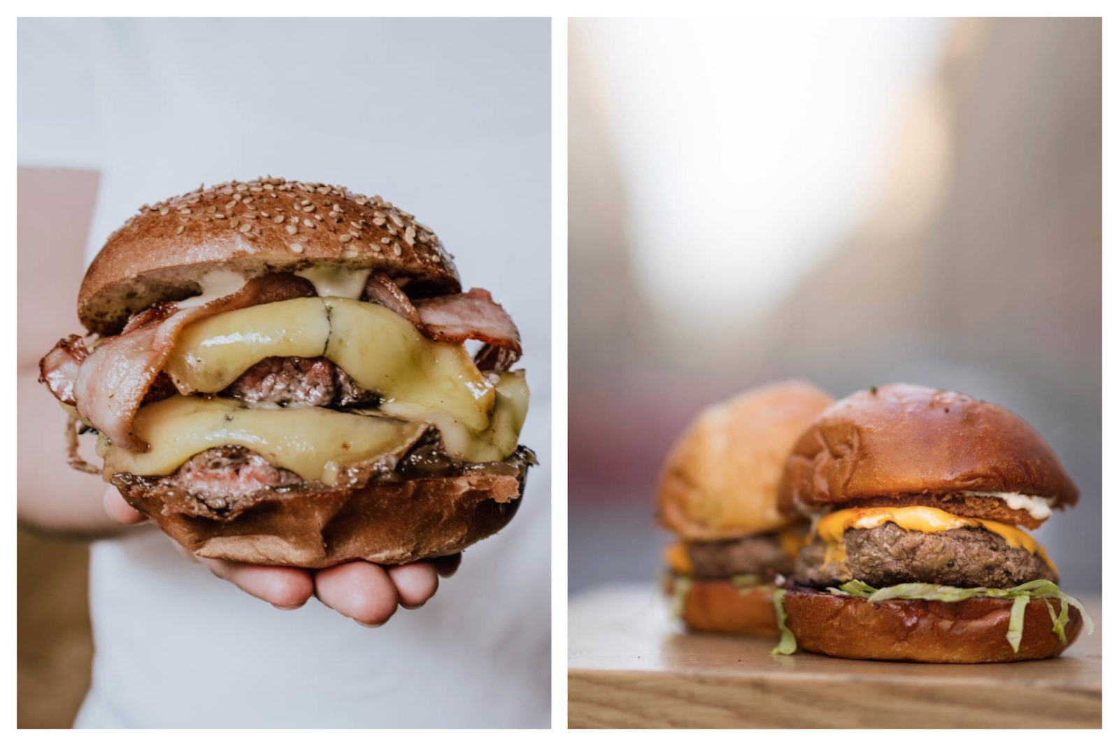 For almost guilt-free burgers in Paris, head to Bio Burger for its juicy, generously filled burgers with melted cheese and bacon (left), or Blend, which does tasty cheese burgers like these two sitting on a wooden table, in several locations all over Paris (right).