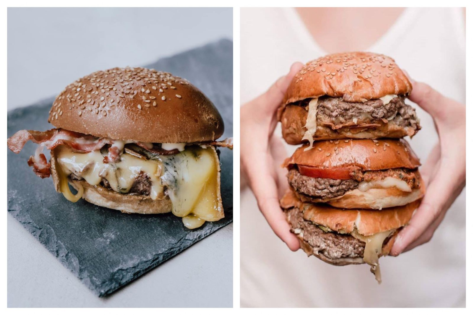 The place to go for an organic burger in Paris is Bio Burger for its generously filled buns with melted cheese and bacon served on slate boards (left). Or you can go for the straight-forward juicy beef burger like one of these three, which this girl is holding stacked together (right).