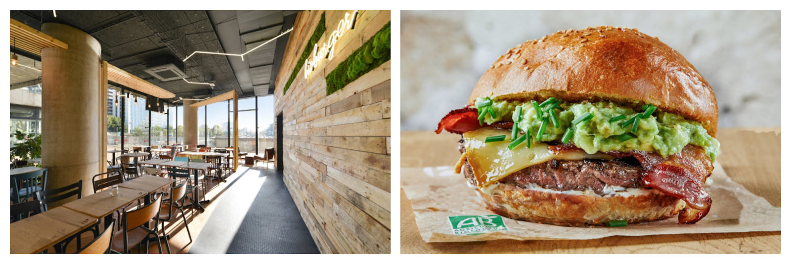 Have a 100% organic burger in Paris at Bio Burger which comes with airy and light timber paneled interiors (left) and serves burgers with 100% organic meat, and fillings like guacamole (right).
