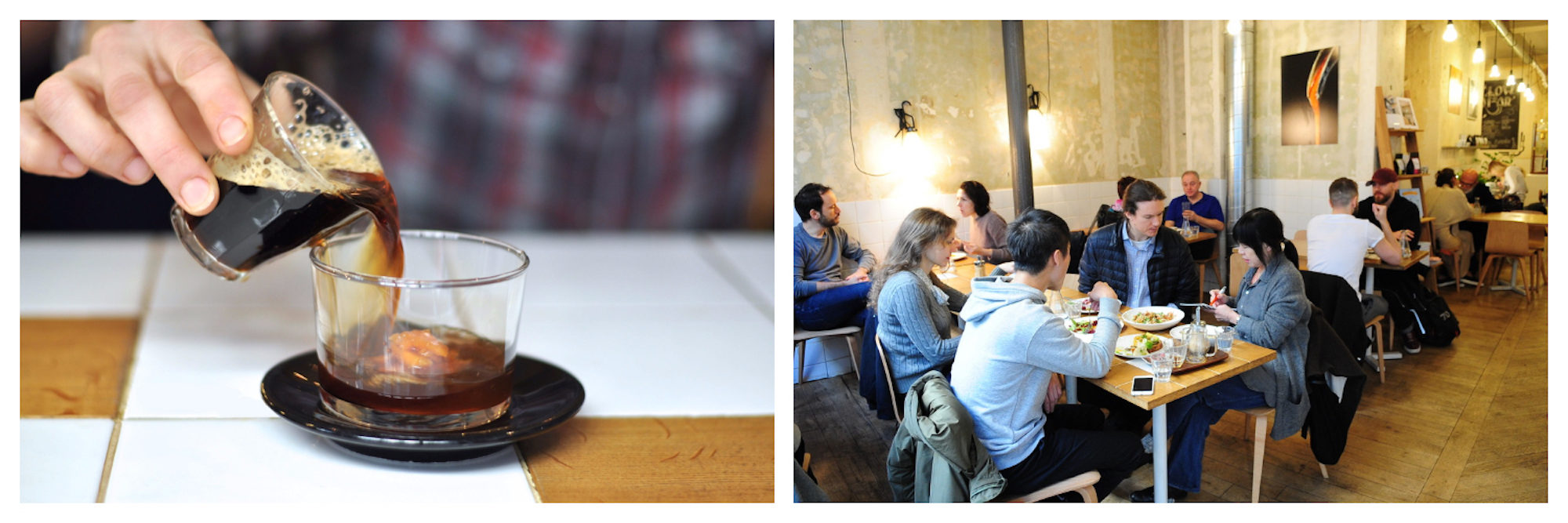 Someone serving coffee into a glass cup on a tiled counter at gluten-free Paris coffee shop Coutume (left). Inside gluten-free Paris coffee shop Coutume with people enjoying breakfast (right).