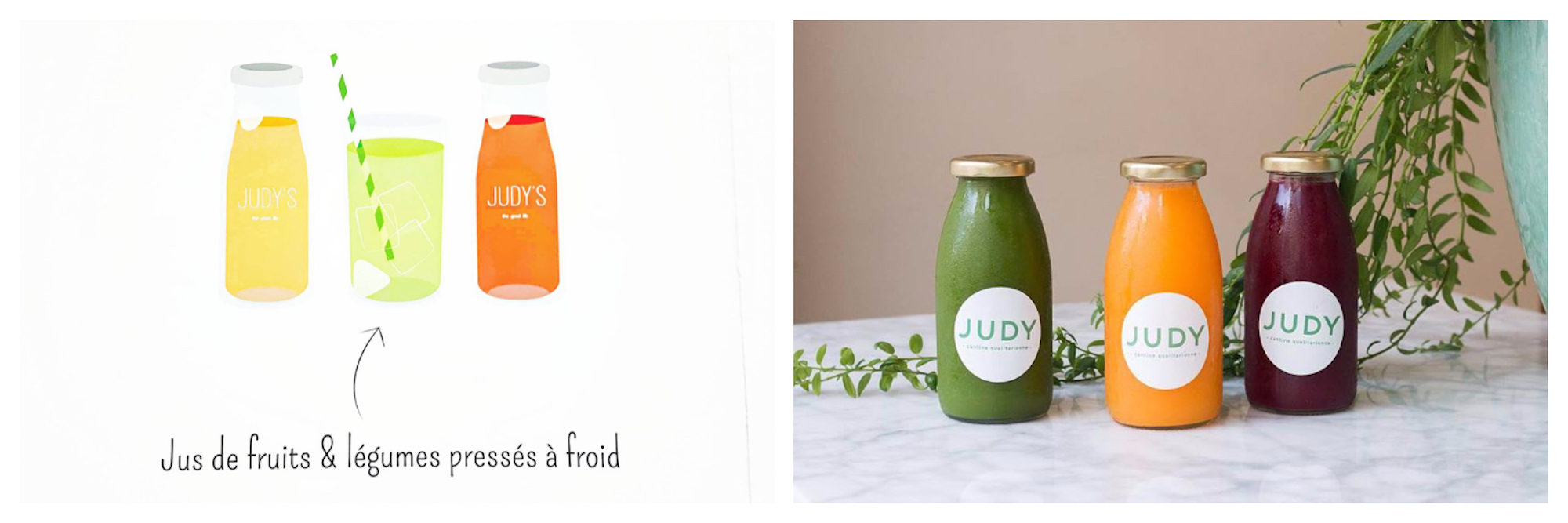 A drawing of fresh-pressed juices at Judy's juice bar in Paris (left). Gluten-free juice bar Judy is one of our favorites in Paris for their bottled fresh-pressed fruit juices like these three on a marble table with a plant in the background (right).