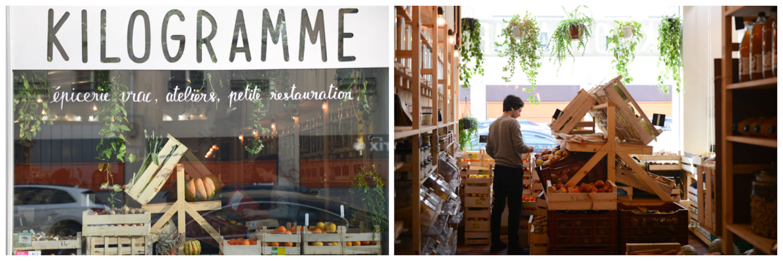 The window of zero-waste store in Paris, L'Epicerie Kilogramme, with wooden crates of fruit (left). Inside L'Epicerie Kilogramme, with wooden crates of fruit and vegetables in the centre and food products on the shelves (right).