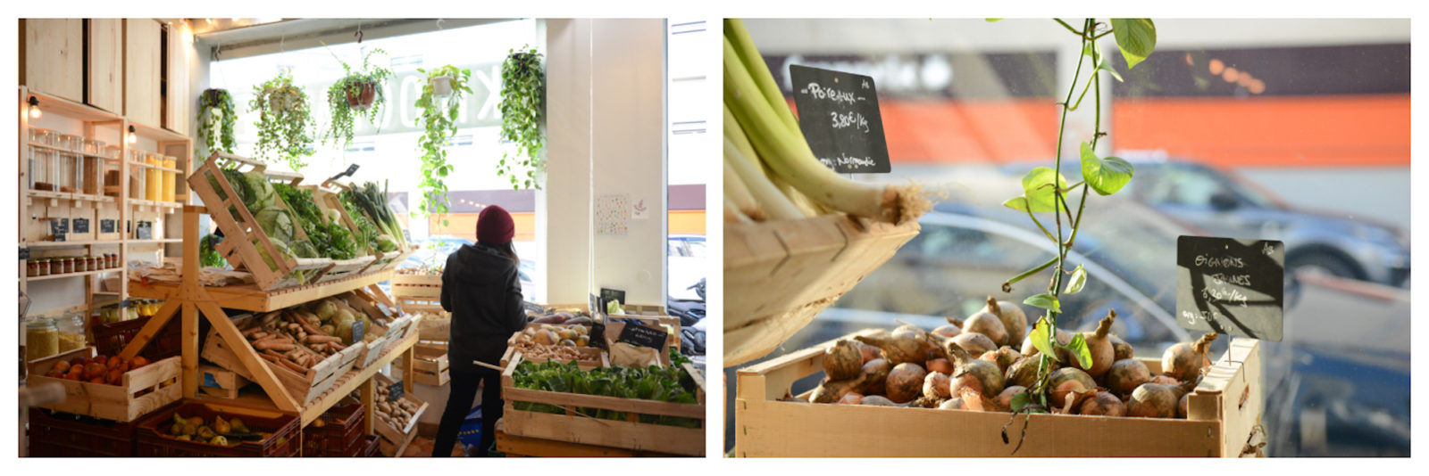 Crates of fresh vegetables at L'Epicerie Kilogramme, a zero-waste, bulk-buying food store in Paris (left). A crate of onions in the window of L'Epicerie Kilogramme grocery store in Paris (right).