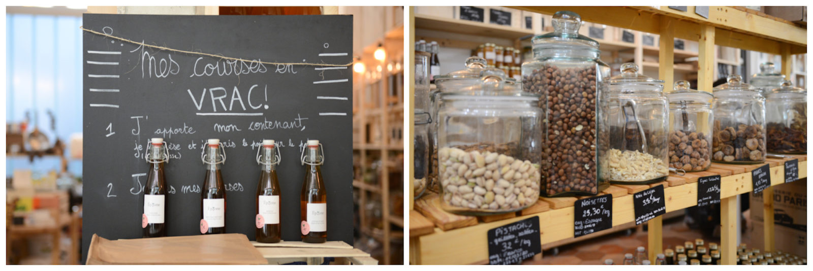 Buy wine in bulk in Paris at Welcome Bio grocery store (left), which also sells groceries in zero-waste packaging (right), and has its own organic restaurant.