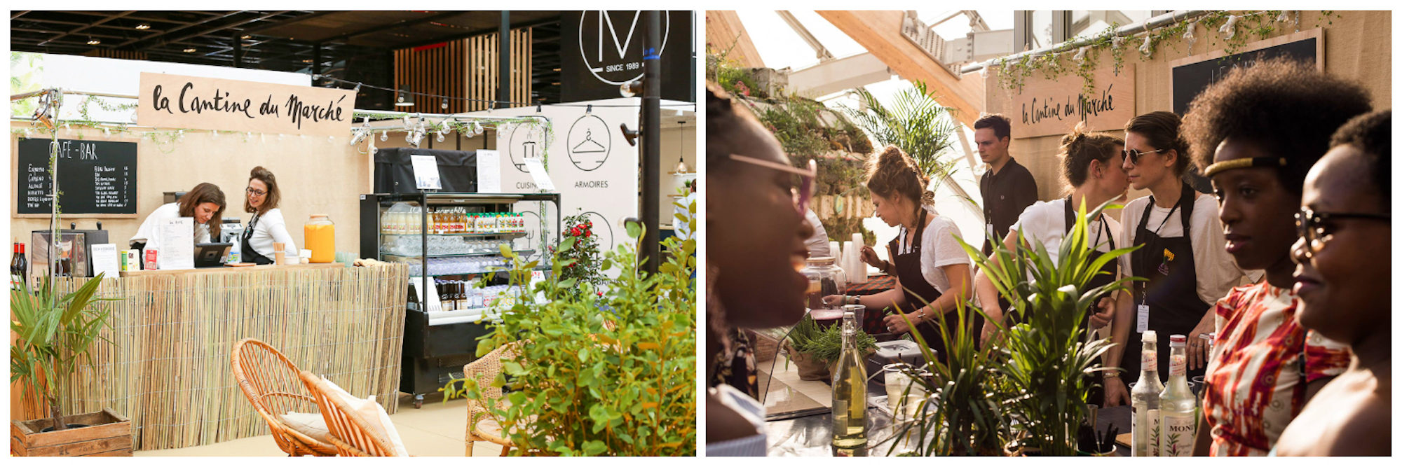 Sustainable food shopping in Paris at La Cantine du Marché, where there's a juice bar in plant-adorned surroundings (left). Three girls enjoying a drink at La Cantine du Marché, with light filtering through the glass roof (right).