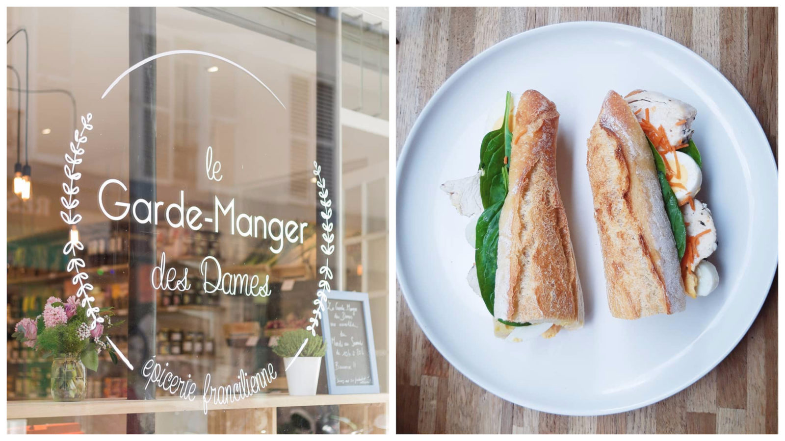 Le Garde Manger des Dames in the Batignolles area of Paris is a go-to for sustainably sourced food and it's also a cafe that makes tasty baguette sandwiches.