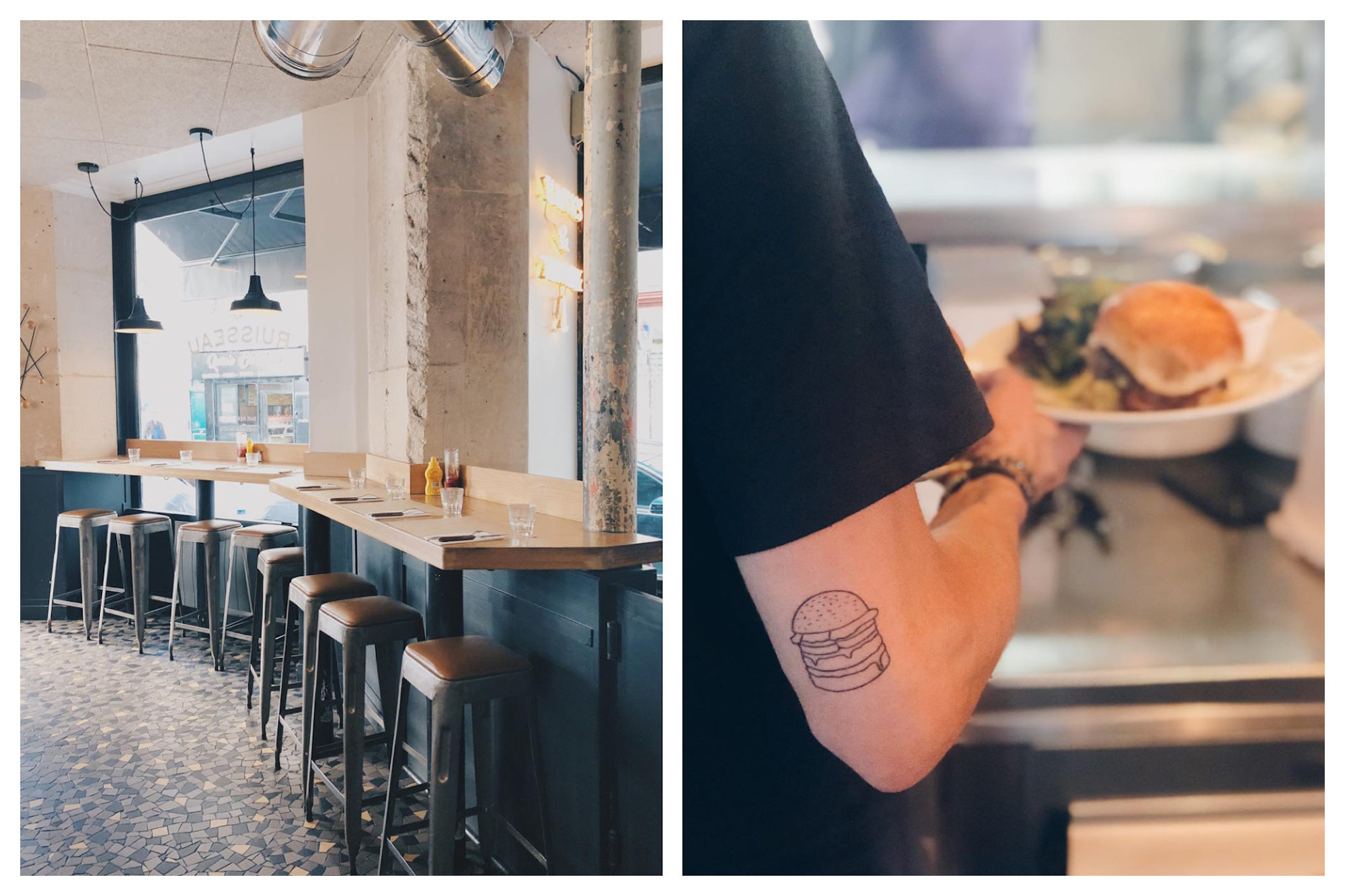 One of the best places to go for a burger in Paris is Le Ruisseau in the 18th neighborhood, which comes with exposed plaster walls, timber furniture and tiled floors (left). The staff at Le Ruisseau burger joint in Paris even come with burger tattoos like this waiter holding a burger on a plate (right).