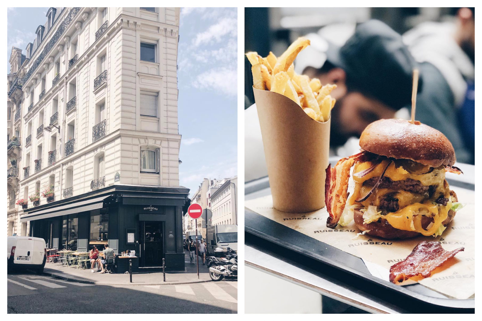 The Best Burgers in Paris can be found at Le Ruisseau in the 18th, slotted in at the bottom of an apartment building (left). Le Ruisseau does bacon, cheese and beef burgers with crispy fries (right).