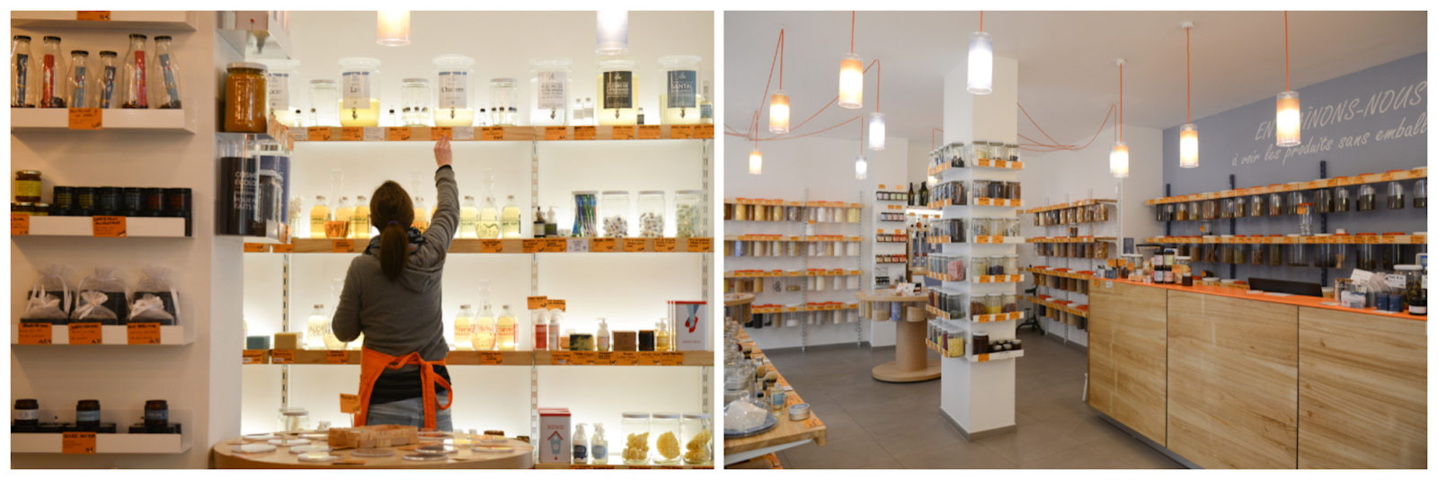 Negozio Leggero is one of the best zero-waste shops in Paris, where everything comes in reusable containers neatly packed on wooden shelves.