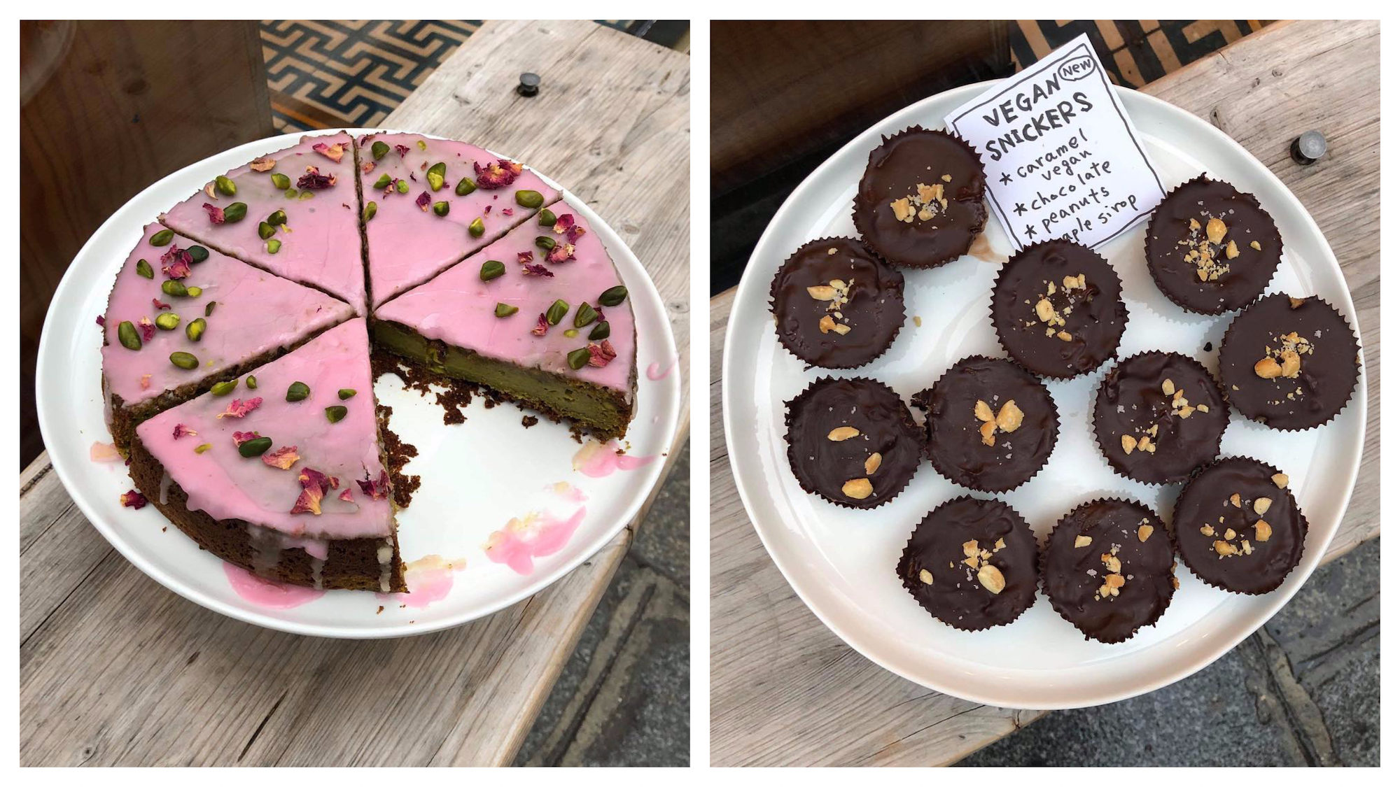 Ob-La-Di coffee shop in Paris is the place to go for gluten-free cakes like this delicious rose and pistachio iced cake (left) and chocolate 'Snicker' muffins (right).