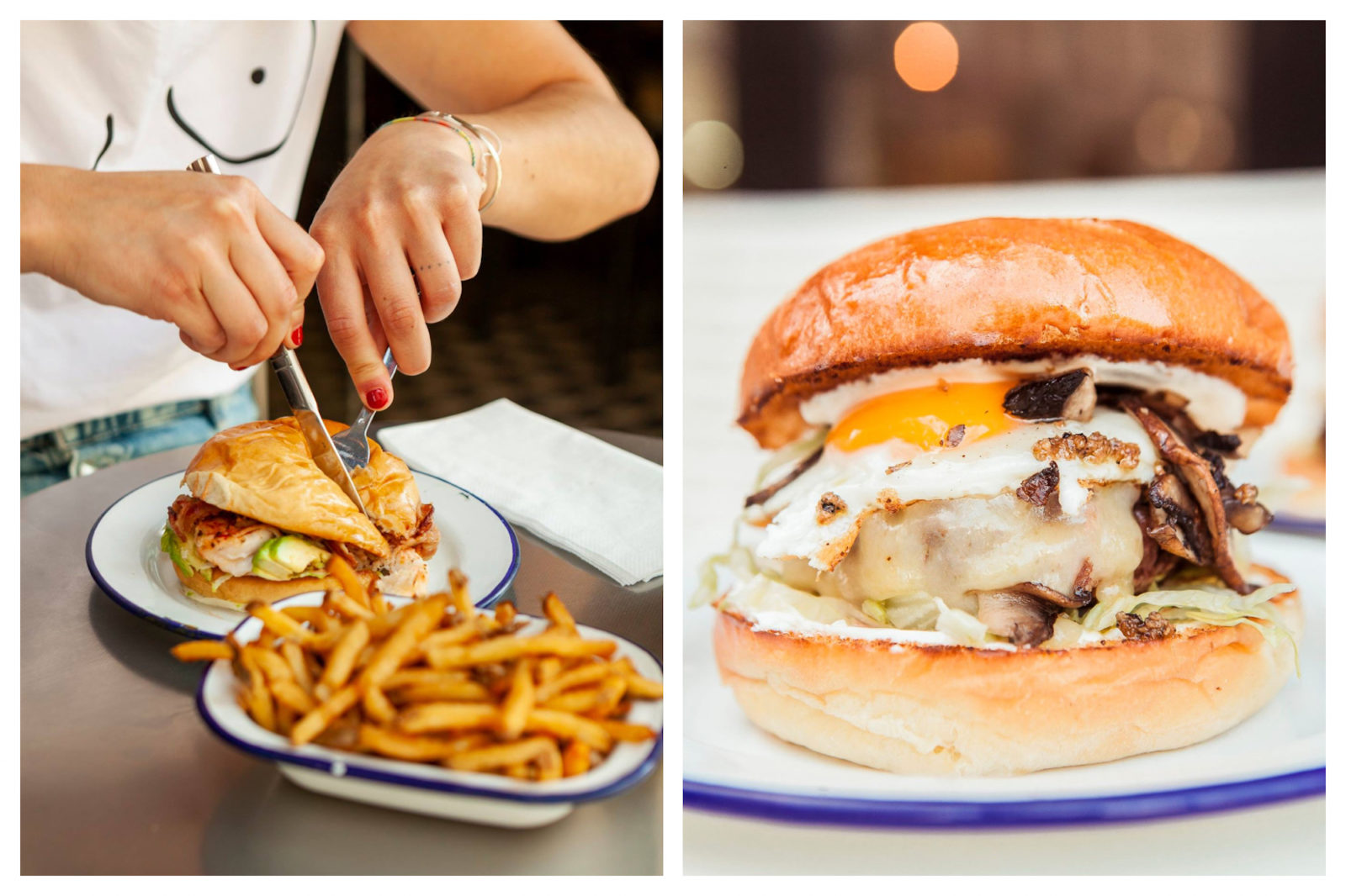 One of the best places to go for a burger in Paris is PNY for its variety of burger fillings like this grilled chicken one with crispy fries which this girl is tucking into (left). A PNY burger in Paris with original fillings like an egg and mushrooms (right).