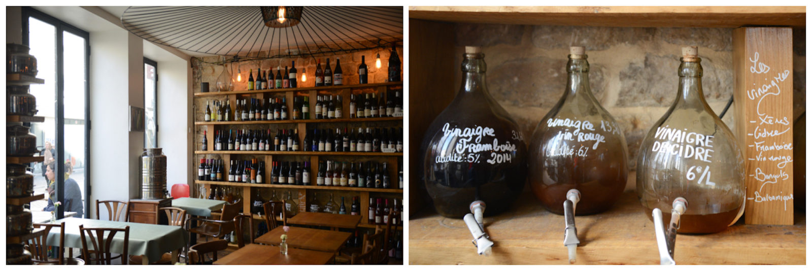 Buy wine in bulk in Paris at En Vrac in the 18th neighborhood, where bottles line the exposed stone walls (left), and some wine is stored in large glass vats (right).