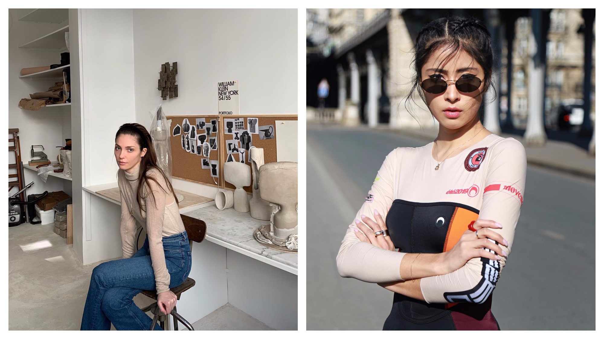 French Instagram fashion influencer Annabelle Belmondo, sitting in an artist atelier in Paris (left). Mexican fashion influencer Denni Elias in Paris (right).