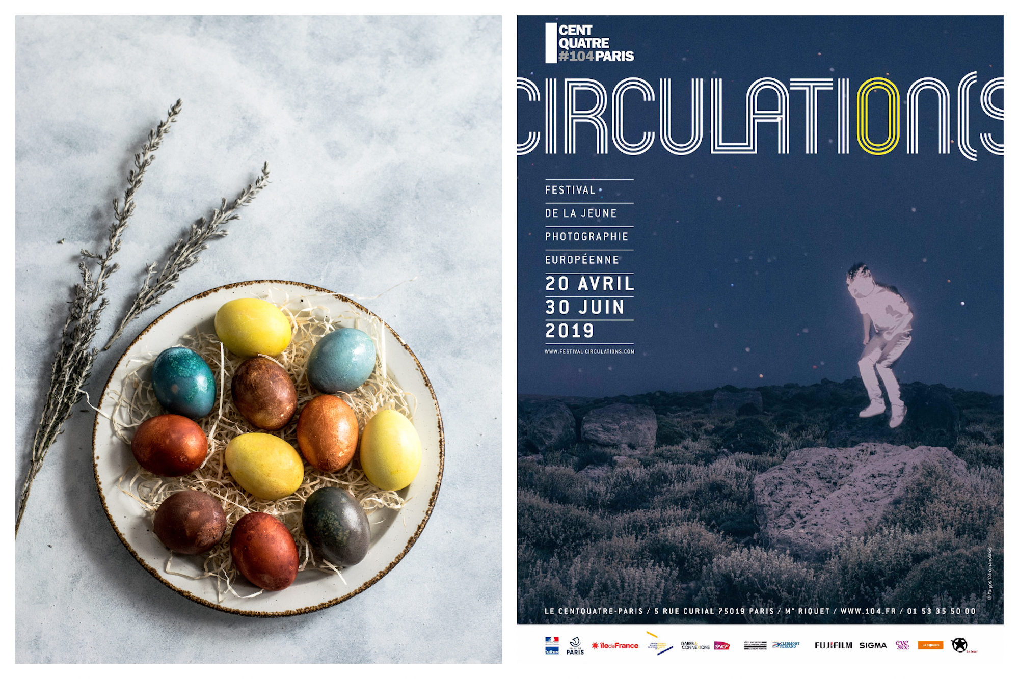 Colorful Easter eggs on a plate in Paris in April (left). A poster for the Circulation photography show in Paris this April (right).