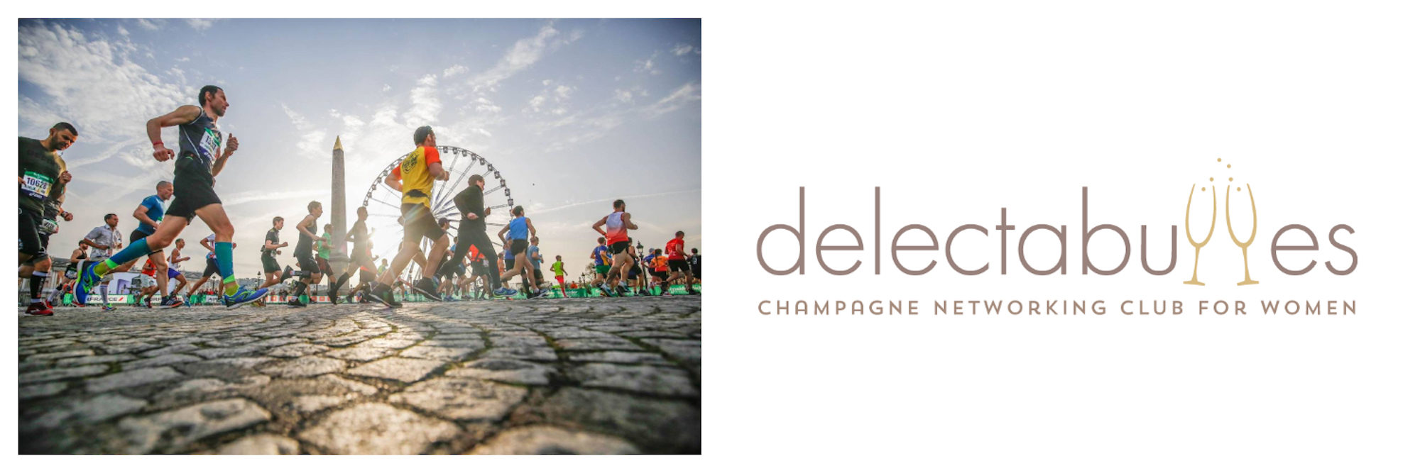 Runners during the Paris Marathon in April on Place de la Concorde (left). The logo for Delectabulles, which will be doing champagne tastings this April in Paris (right).