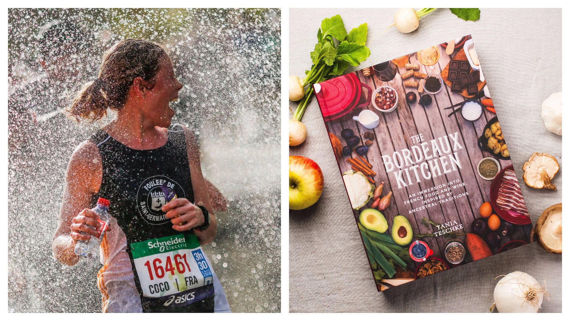 A runner splashed in water at the end of the Paris Marathon in April (left). The Bordeaux Kitchen cookbook by Tania Teschke, out this April (right).