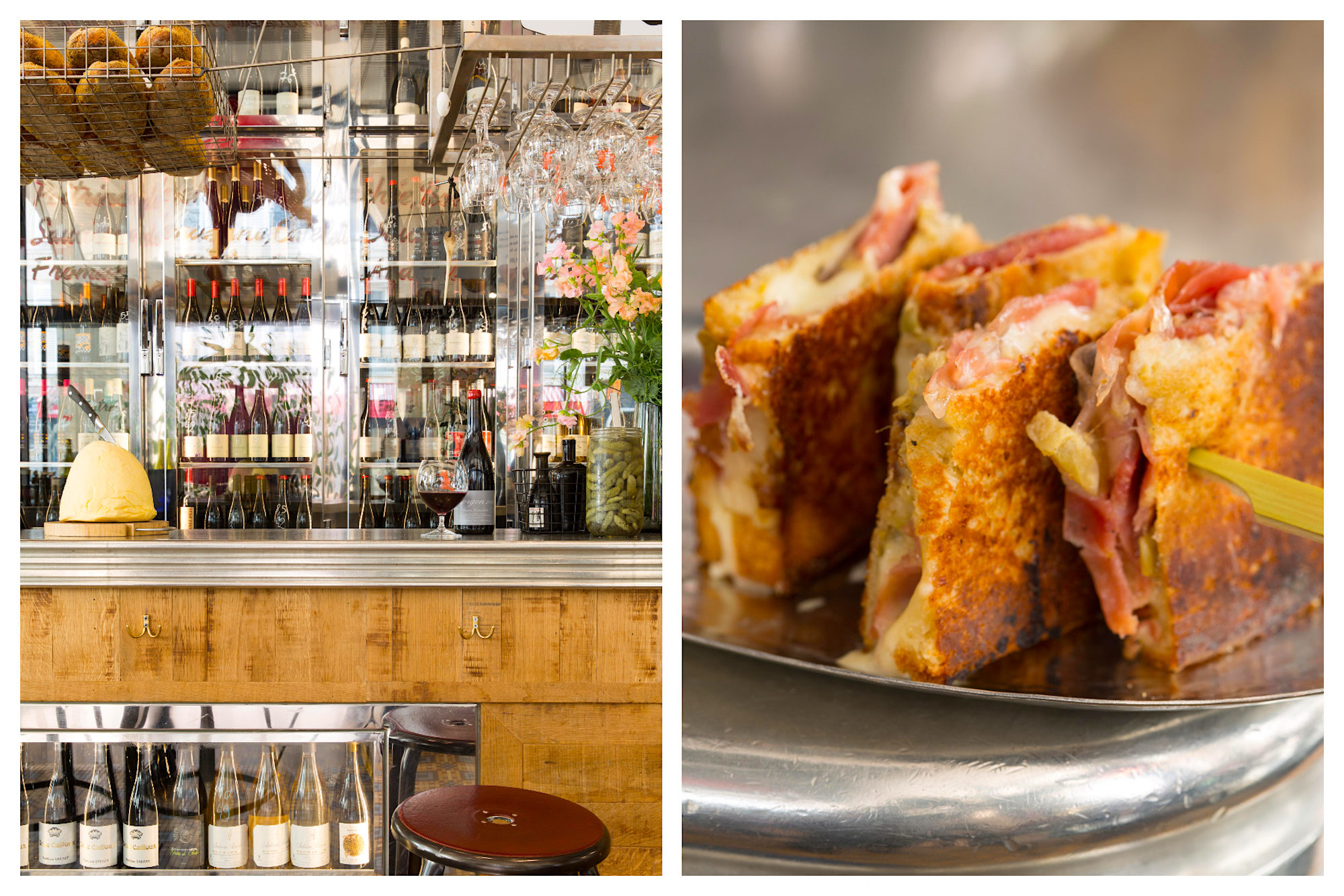 L'avant Comptoir du Marché does great small plates in Paris and has an impressive wine collection (left) and tasty tapas-like bites for pre-dinner drinks (right).