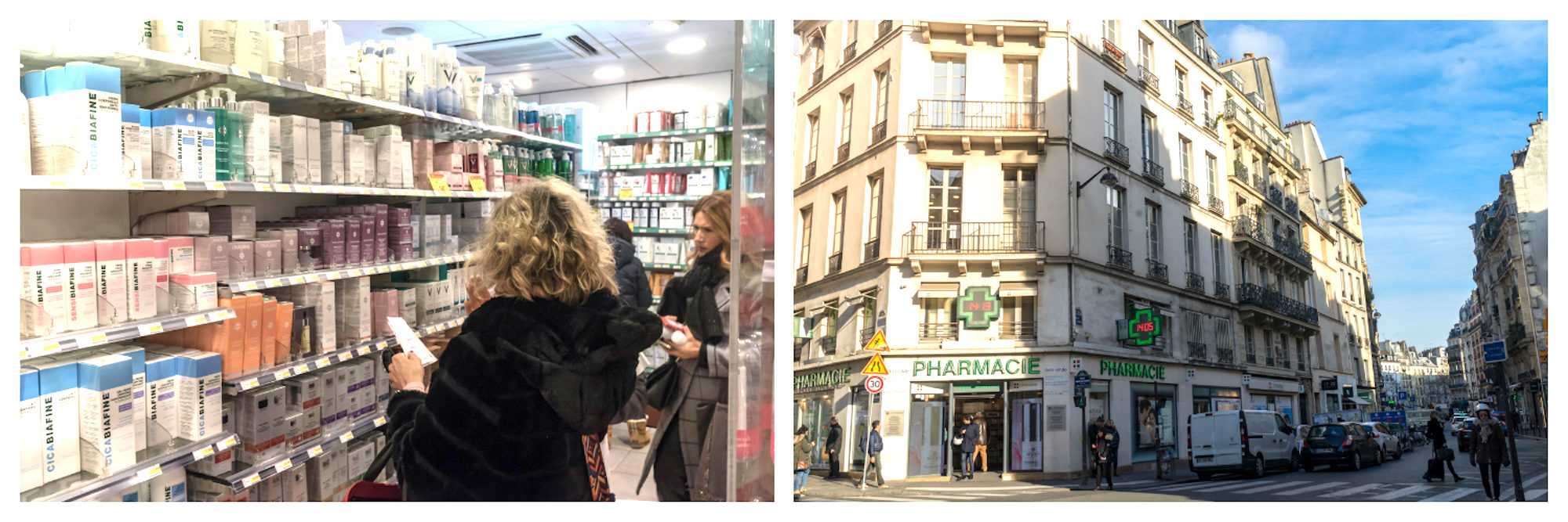 Shopping for discounted French beauty products at pharmacy Citypharma in Paris (left). Outside the best place to buy French beauty products in Paris, Citypharma (right).