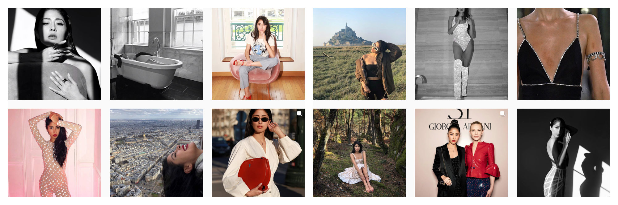 A selection of images of Mexican Instagram fashion influencer Denni Elias.