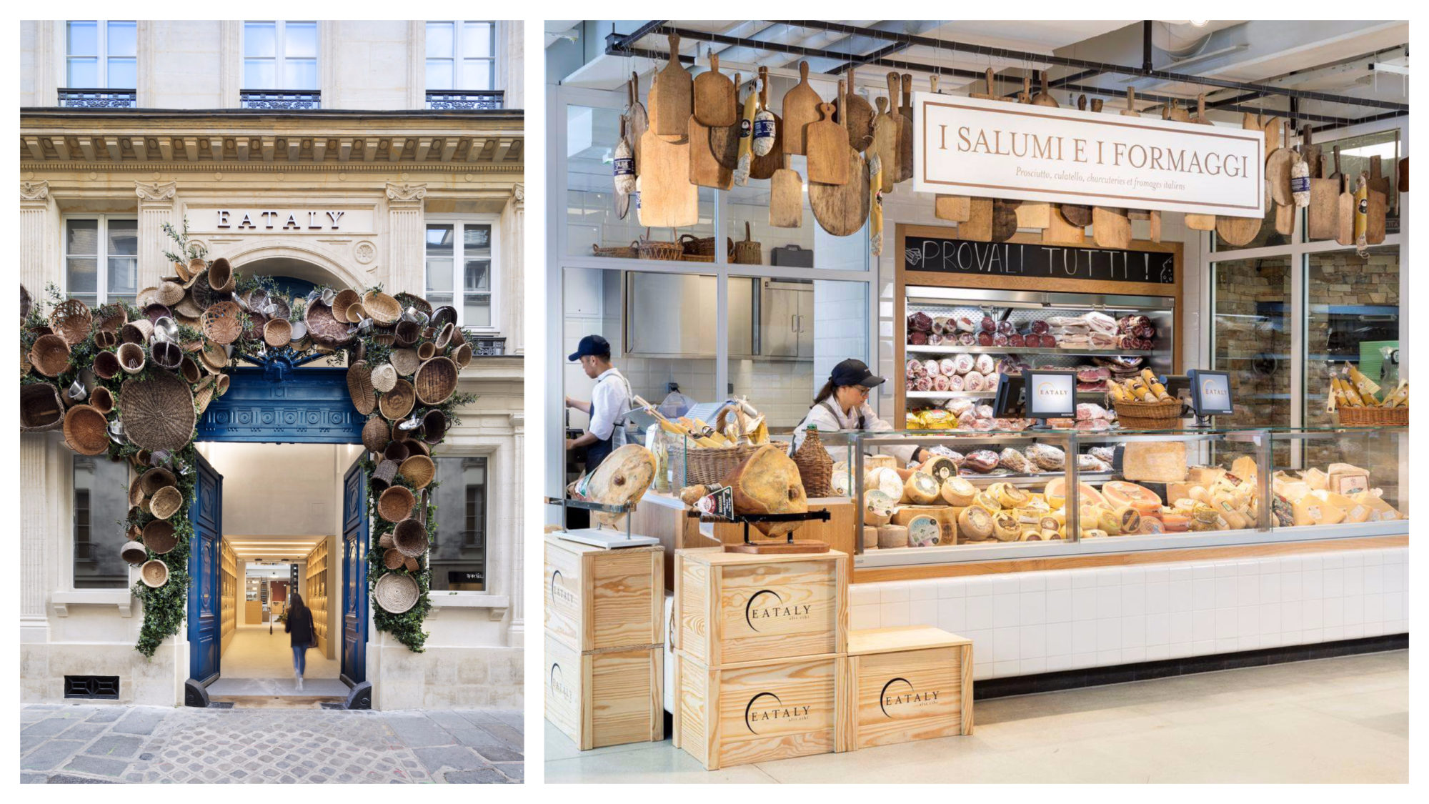 The entrance of Eataly, the epicenter for Italian food in Paris, decorated with straw baskets hanging on the wall (left). A salami and cheese stall with a counter brimming with different cheeses (right).