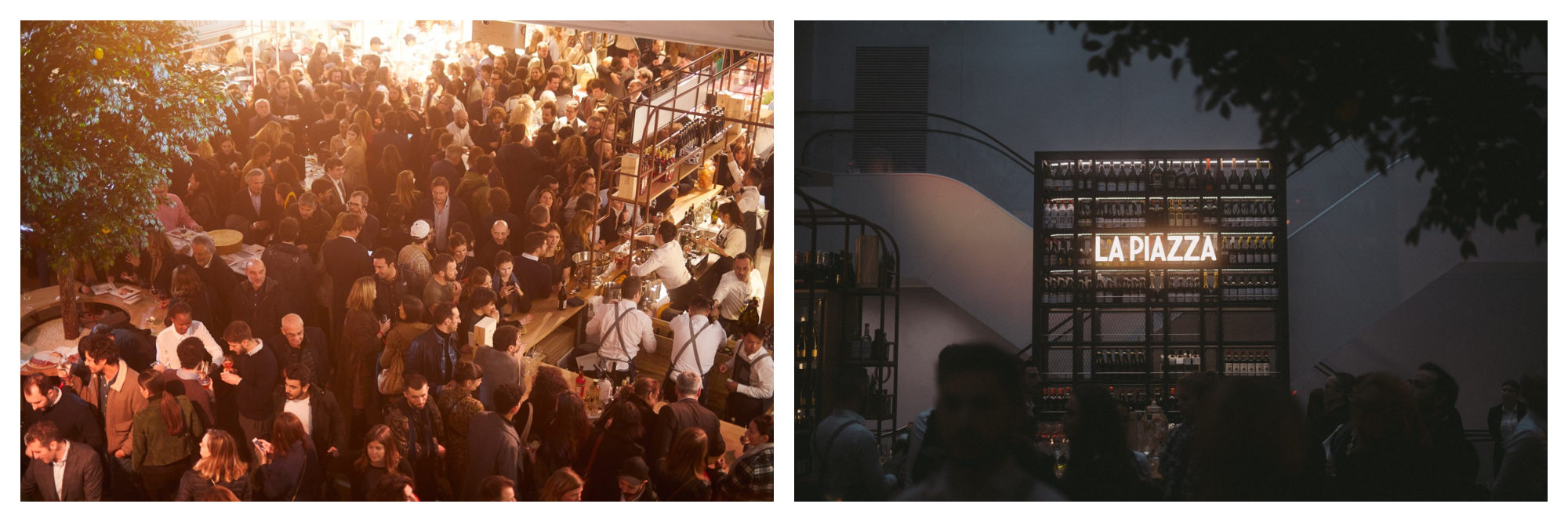 The crowds of punters at Eataly, the new epicenter for Italian food in Paris, come to enjoy a Spritz or two after work (left). The 'La Piazza' neon sign on the exterior of the Eataly buliding in Paris (right).