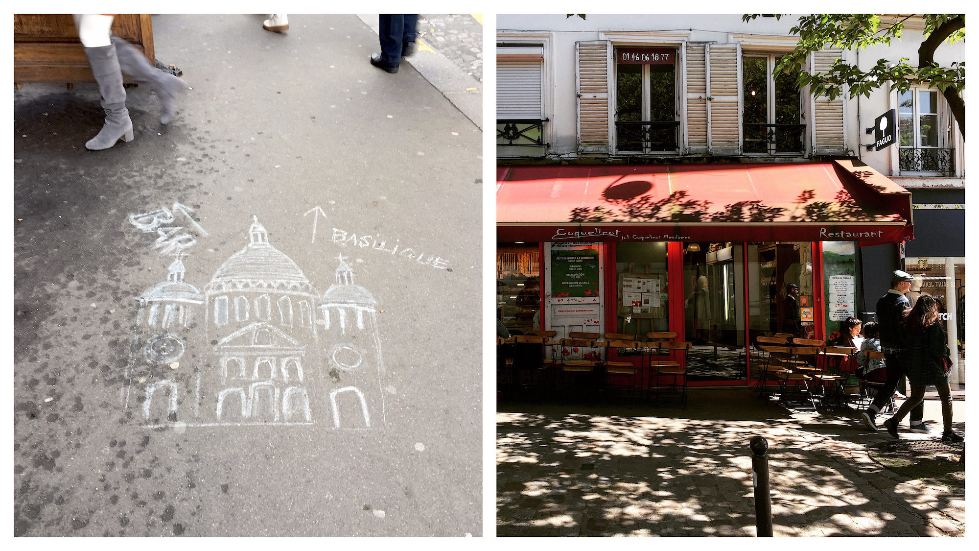 A chalk drawing of the Sacré Coeur Basilica in Montmartre on a sidewalk in Paris (left). A quaint bistro lined by a terrace on a tree-lined square in Paris in summer (right).