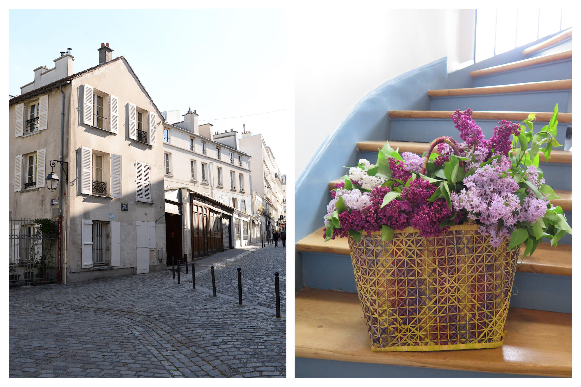 An old house on a cobblestone street in Montmartre in Paris, near the wall of I love yous (left). A basket of beautiful fuchsia and lilac flowers set on a wooden staircase inside a Parisian apartment building (right).