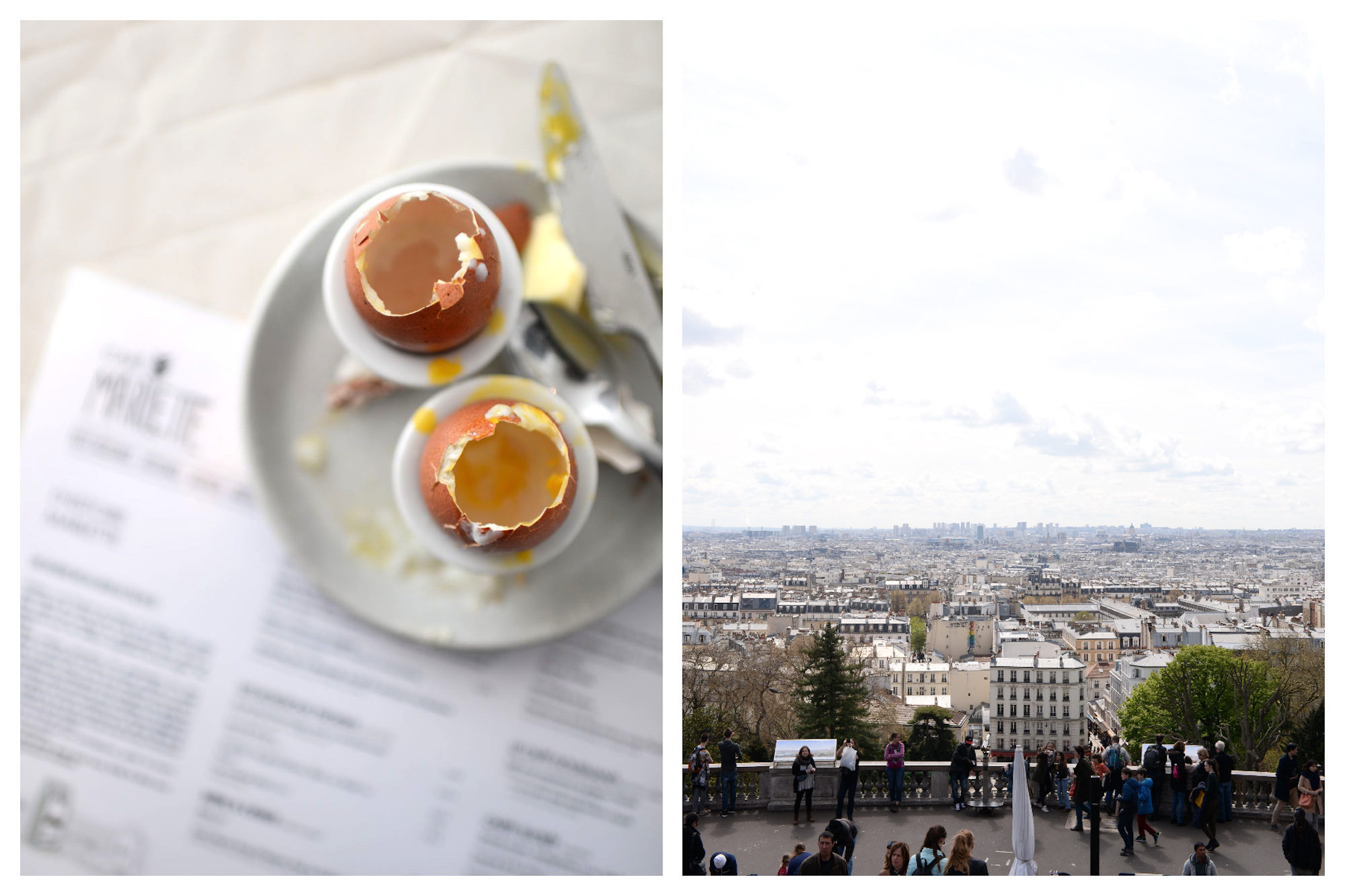 Breakfast of runny eggs that have been eaten, set on a plate on a menu at a Parisian bistro (left). The panoramic view of the Paris rooftops from the top of Montmartre (right).