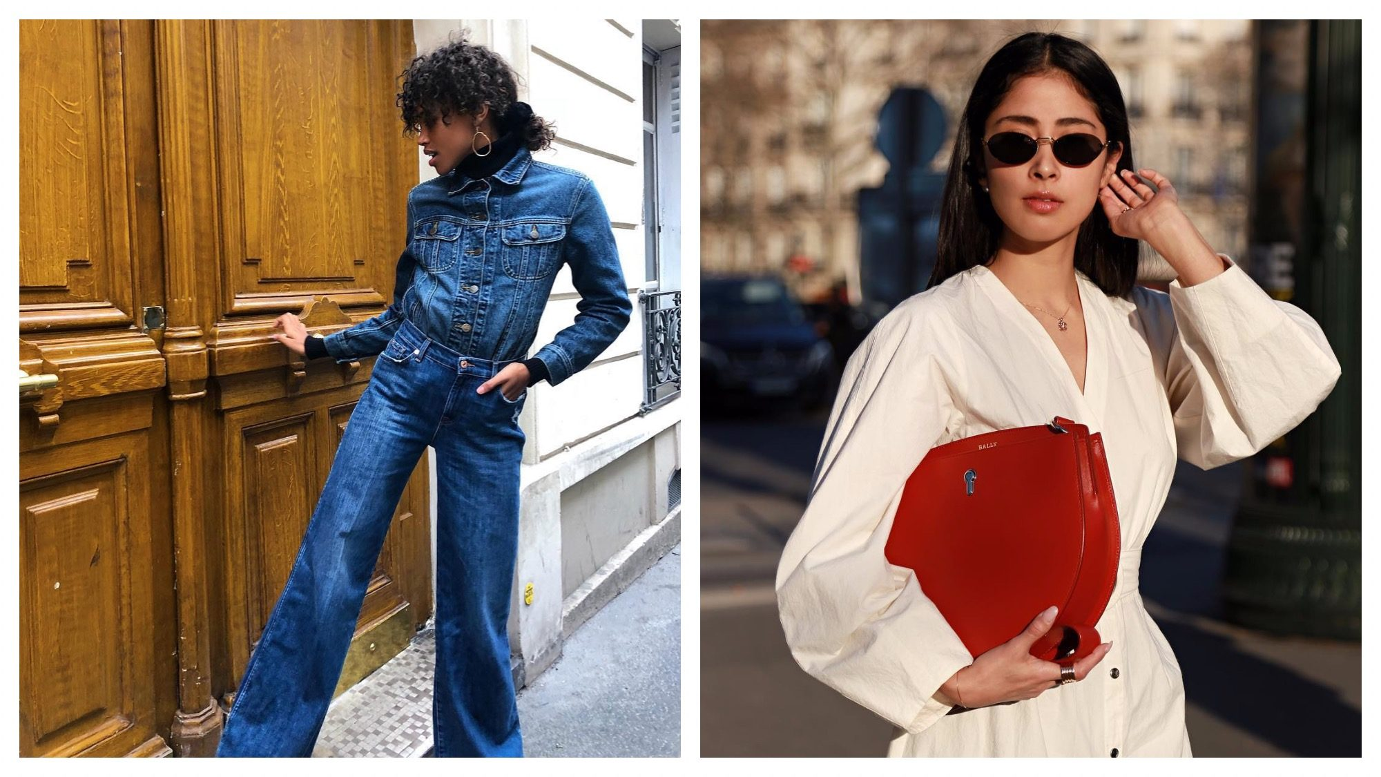 French fashion influencer Hanna Lhoumeau wearing an all denim look in Paris (left). Mexican fashion influencer Denni Elias holding a red leather handbag in Paris (right).