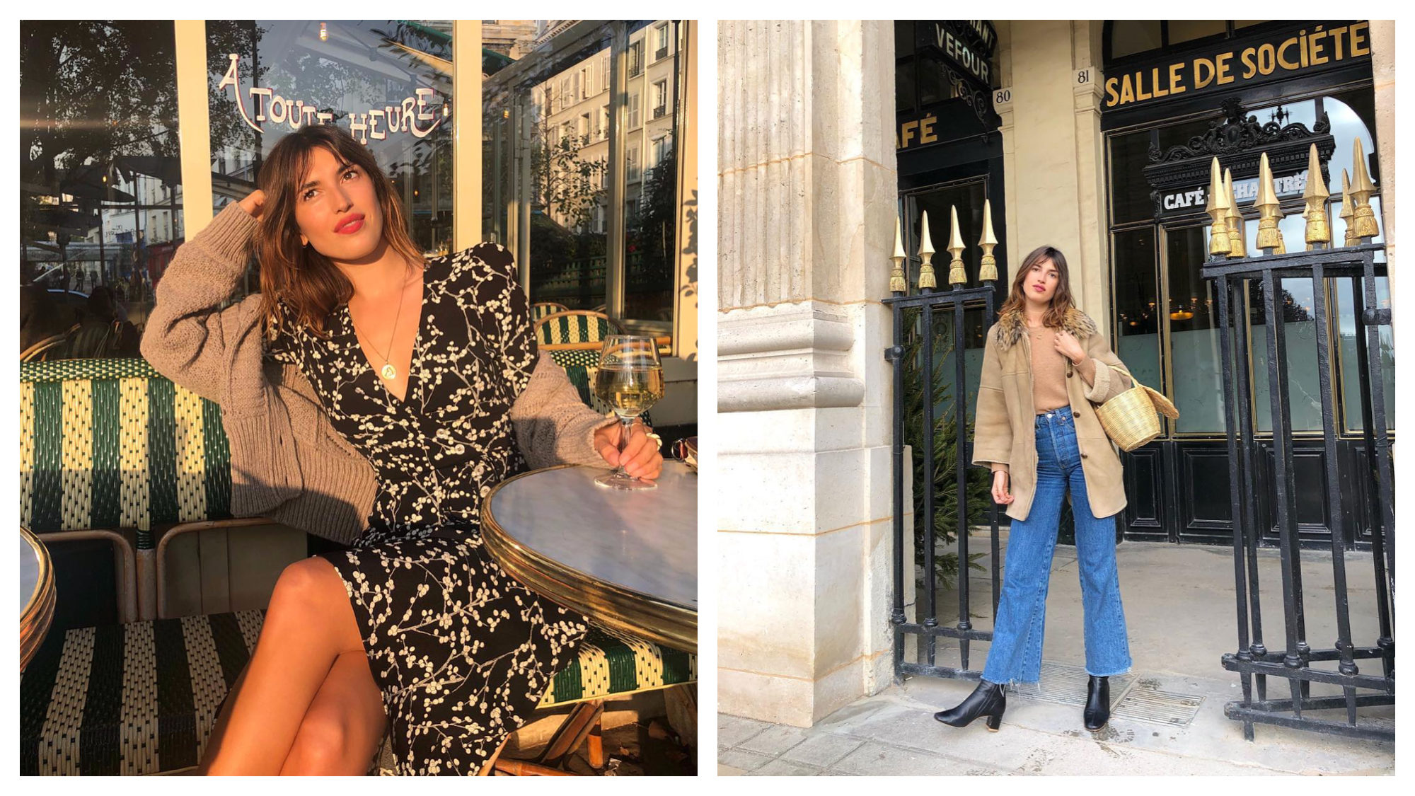 French Instagram fashion influencer Jeanne Damas, sitting at a Parisian café with a glass of wine in the sun (left). Jeanne Damas at the Jardin du Palais Royal in Paris, wearing flared frayed jeans and a Jane Birkin style basket as a handbag (right).