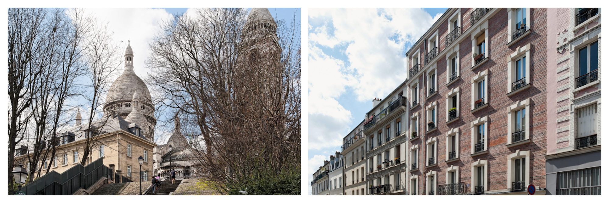 A view of the Sacré Coeur Basilica through bare trees in the winter in Paris (left). A row of apartment buildings that line a street in Paris (right).