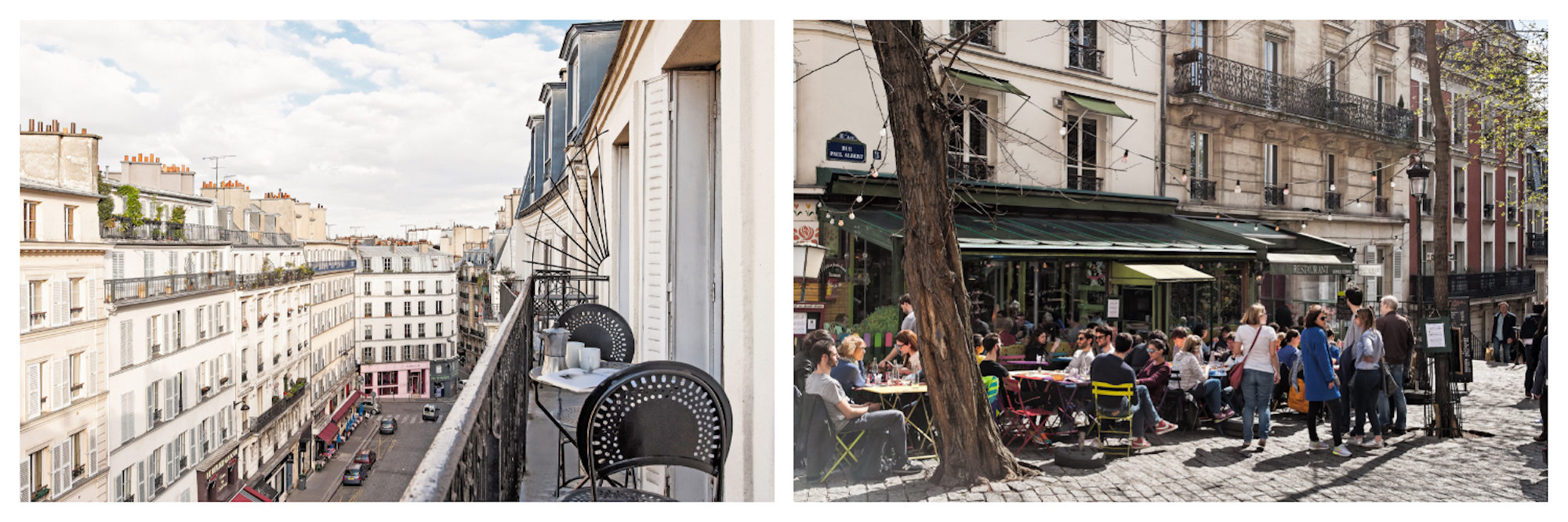 The view of a Paris street from the balcony of an apartment (left). A café in Montmartre in Paris, on a cobblestone square, where people are sat a tables outside, enjoying the sunshine (right).