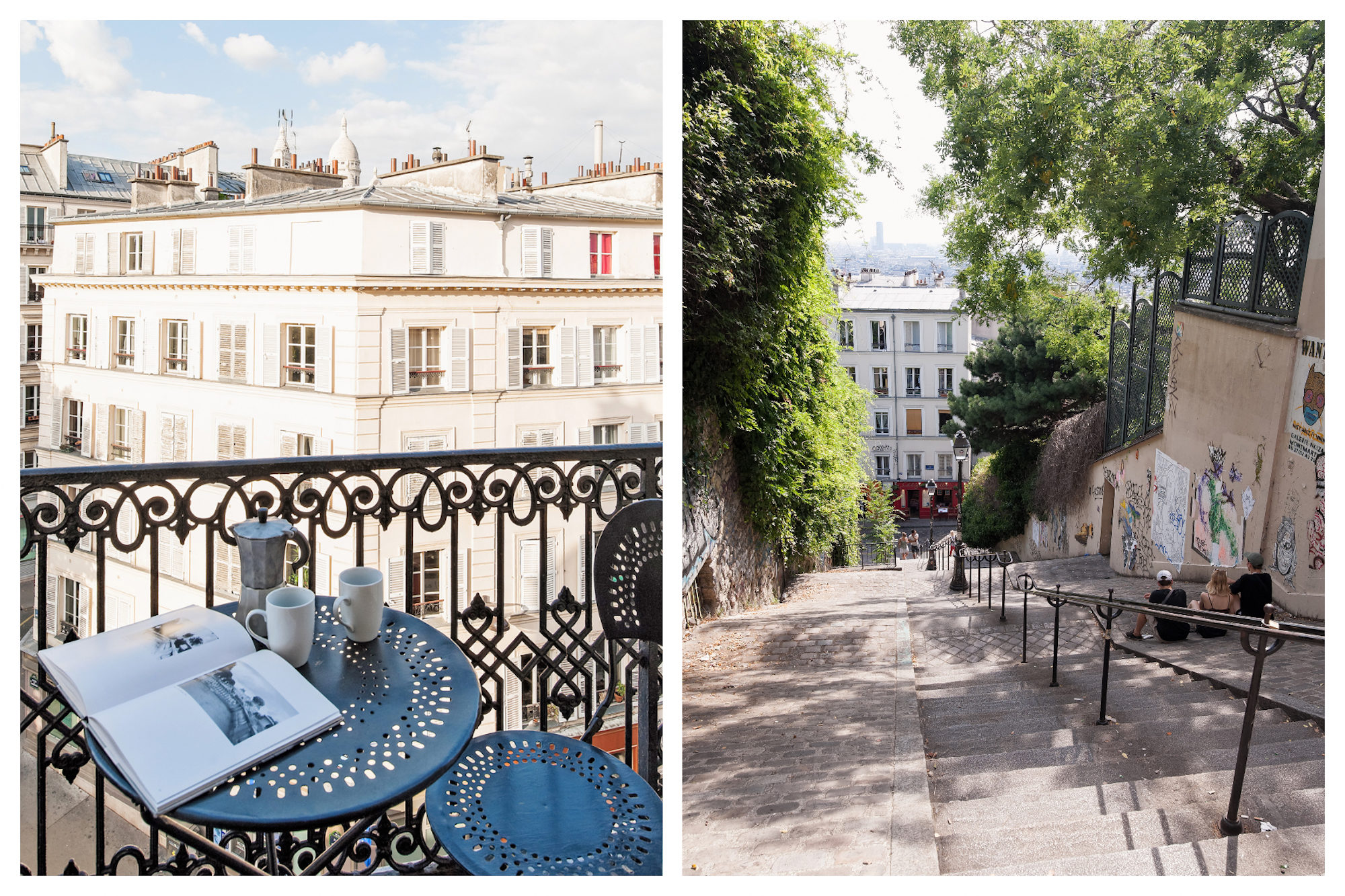 A table, two cups and a coffee pot on a table set up on the balcony of Parisian apartment, with a view of the sunny street (left). The narrow stone stairs leading up to Montmartre hill in Paris, lined by leafy trees (right).
