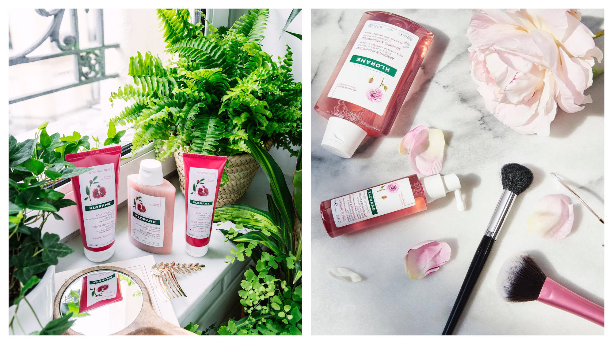 Buy French beauty products for less in Paris, like these Klorane hair care products set up next to leafy green plants on a windowsill (left). And these Klorane lotions and potions arranged on a marble top next to makeup brushes and rose petals (right).