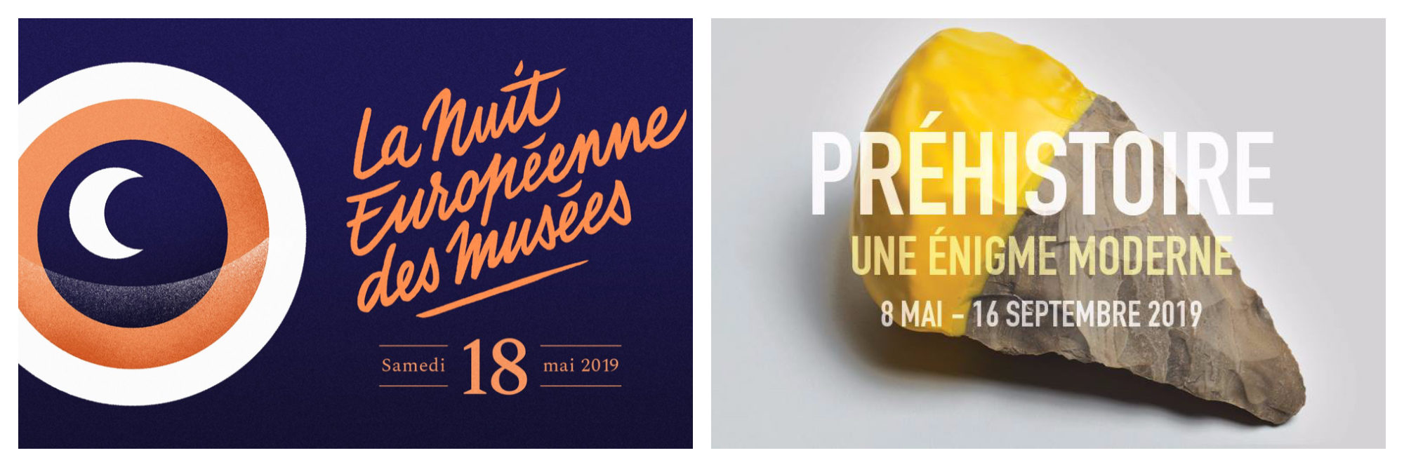 A poster for the Nuit Européenne des Musées event in Paris in May (left). A poster for a prehistory event in Paris this May (right).