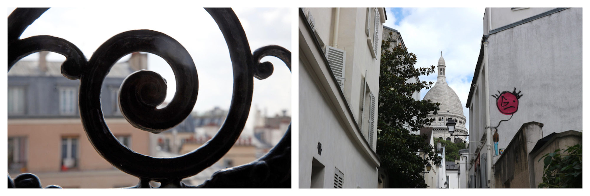 A detail in the wrought iron balcony of a Parisian apartment (left). A view of the Sacré Coeur Basilica at the end of a narrow lane, with a pink balloon painted on the right-hand wall (right).