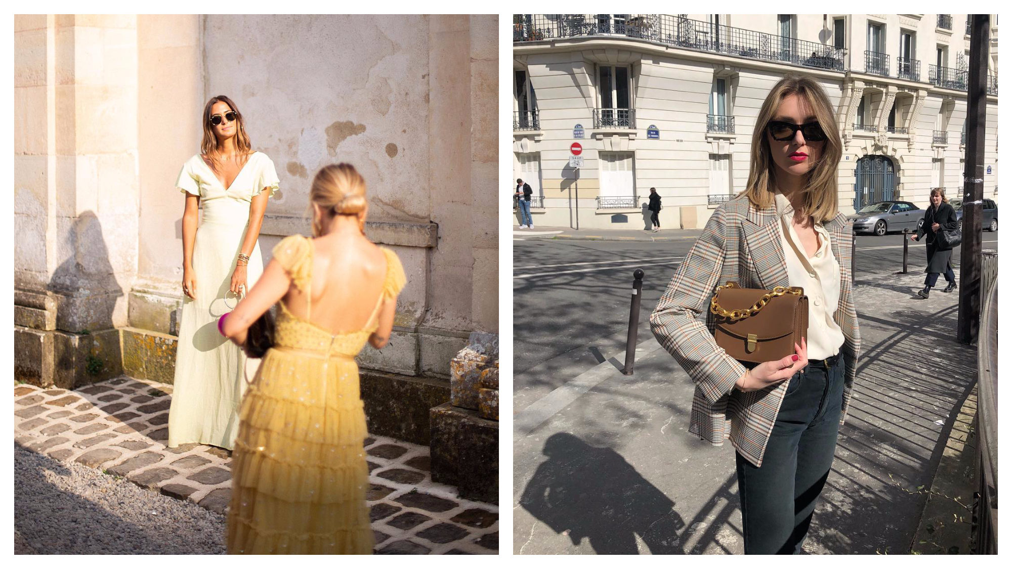 Margot Rousseau, fashion editor at Glamour magazine in Paris, taking a picture of Emma Ratajkowski (left). Paris Instagram fashion influencer Lucie Mahé holding a brown handbag posing in a Paris street (right).