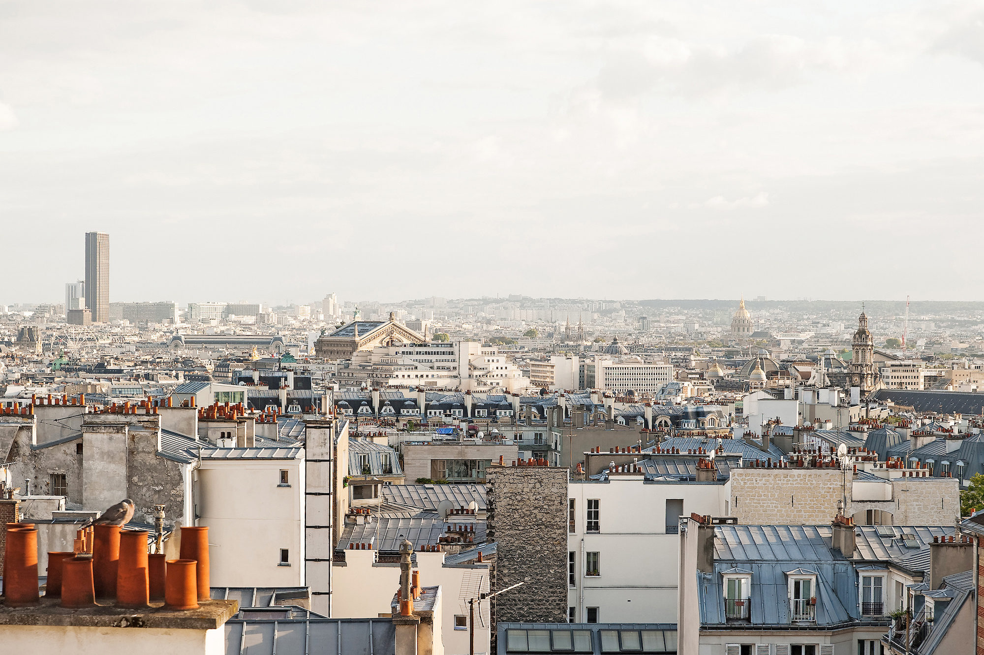 The panoramic view of the Paris rooftops from the top of Montmartre.