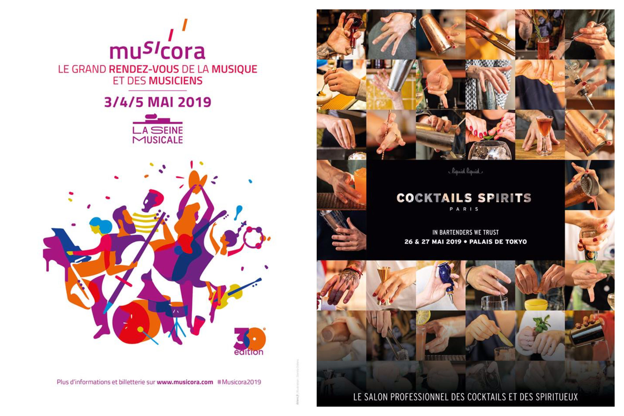 May in Paris also marks the 30th anniversary of Musicora, a three-day music event at La Villette (left). A cocktails festival in Paris in May (right).