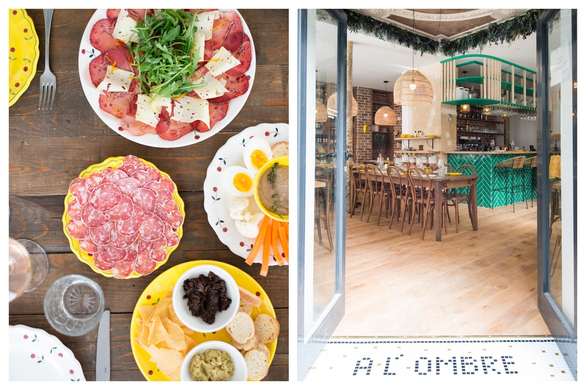 One of our favorite places to go for small plates in Paris is A L'Ombre (literally 'In the shade') restaurant, which serves tomato and mozzarella salads as well as ham and cheese (left). The interiors of A L'Ombre restaurant in Paris are cheerful with eye-popping turquoise tiles and timber tables and chairs (right).