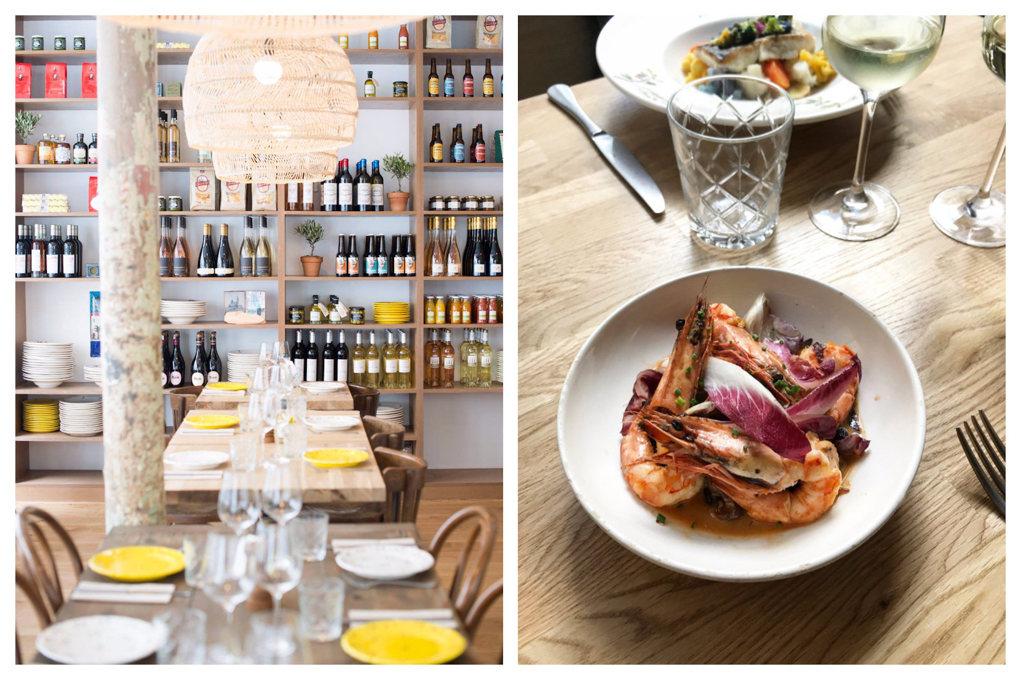 One of go-to places for having small plates in Paris, is A L'Ombre restaurant for the food, like tasty gambas salad (right) and the bright and light interiors, along with the wine collection,which lines the back wall (left).